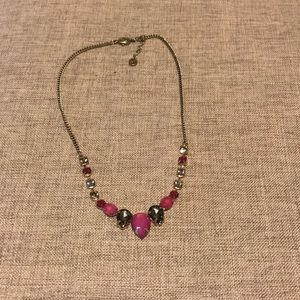 Pink and grey costume necklace from the loft